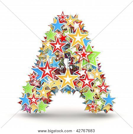 Letter A from colored stars