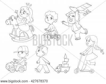 Kids In Kindergarten Play With Their Favorite Toys. Children Ride A Wooden Rocking Horse, Rides A Tr