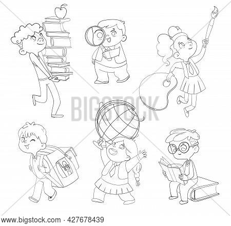 Back To School. Little Children Holding School Stationery. Set. Stacks. Magnifying Glass. Schoolbag.