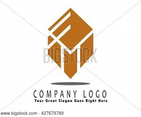 E M Gold Color Box Illustration Logo, M Logo With Box Shape, Creative Icon Design Vector Illustratio