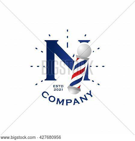 Modern, Stylish And Professional Illustration Logo Design Initial N Barbershop.