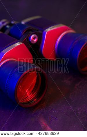 Hunting Binoculars With Red Lense, Close Up