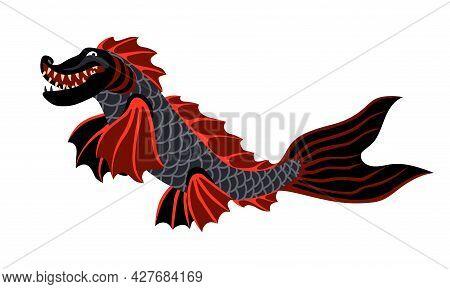 A Young Black Dragon With Red Fish Fins, A Fantastic Creature, A Sea Monster, A Color Vector Illustr