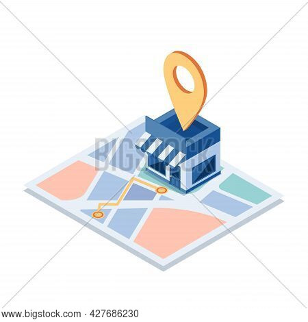 Flat 3d Isometric Shopping Store On The Map With Gps Navigation. Gps Navigation And Store Locations