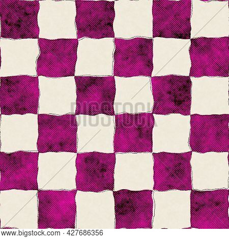 Seamless Bright Vivid Pink And Yellow Pattern Swatch For Print