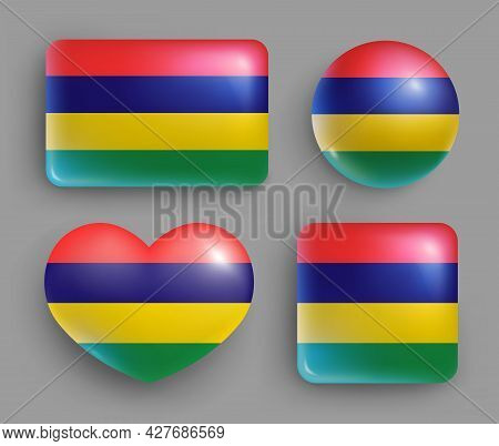 Set Of Glossy Buttons With Mauritius Country Flag. Southern Africa Republic National Flag, Shiny Geo
