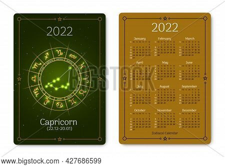 Capricorn Calendar Of Pocket Size With Zodiac Sign. 2022 Year Double Sided Vertical Calendar With Go