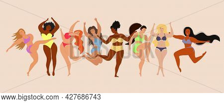 Happy Body Positive Women. Body Positive Concept With Different Sizes And Races Women. Female Freedo