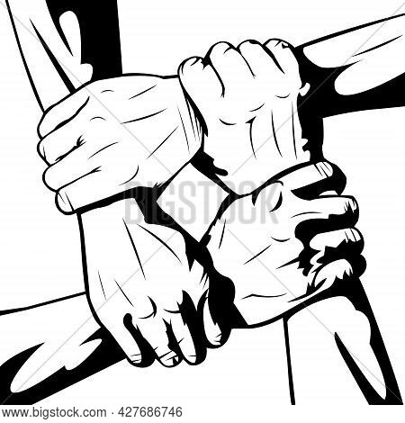 Simple Black And White Illustration Of Interracial Union On White Background. Happy Friendship Day.