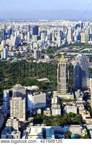 The Metropolitan Bangkok City - Aerial  View Urban Tower Bangkok City Thailand On April 2019 , Blue