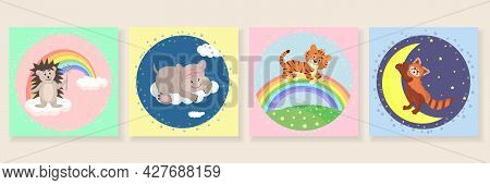 Cute Posters With Little Hedgehog, Red Panda, Hippopotamus, Tiger. Nursery Wall Art For Baby Boy And