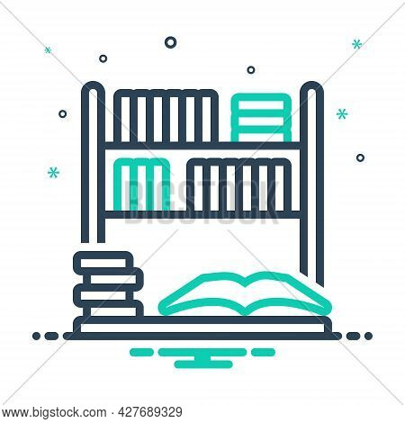 Mix Icon For Library Bookshelf Bookstore Collection Education Learning Reading Publication Encyclope