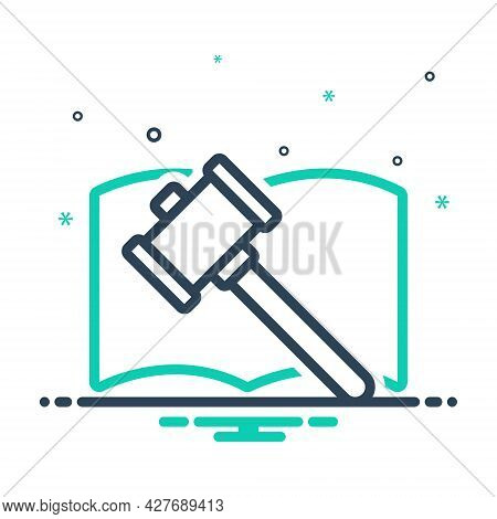Mix Icon For Auction Authority Judge Lawyer Legal Act Courthouse Crime Hammer Judgement Justice Verd