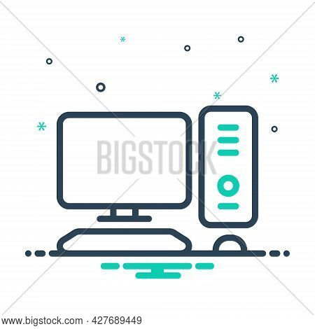 Mix Icon For Computer Device Display Electronic  Software Technology Television Monitor Cpu Screen P