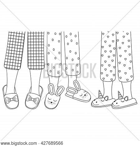Legs Of Girls In Pajamas And Slippers, Black Outline, Isolated Vector Illustration In The Flat Style