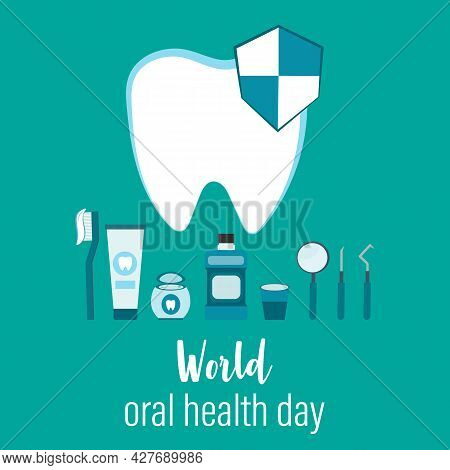 World Oral Health Day On March 20th. How To Tace Care Of Teeth. Medical, Dental And Healthcare Creat