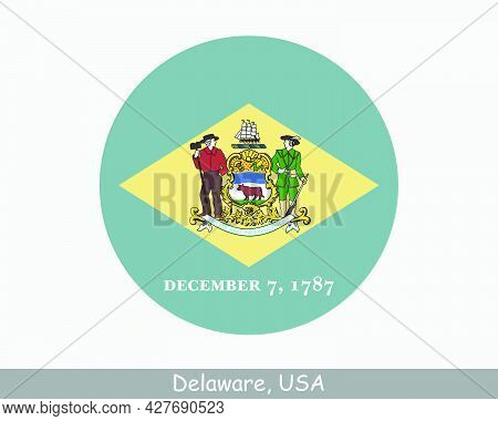 Delaware Round Circle Flag. De Usa State Circular Button Banner Icon. Delaware United States Of Amer