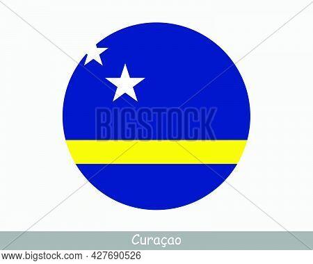 Curacao Round Circle Flag. Curacaoan Circular Button Banner Icon. Eps Vector
