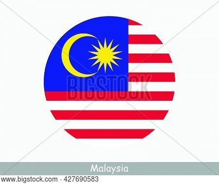 Malaysia Round Circle Flag. Malaysian Circular Button Banner Icon. Eps Vector