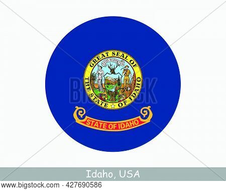 Idaho Round Circle Flag. Id Usa State Circular Button Banner Icon. Idaho United States Of America St
