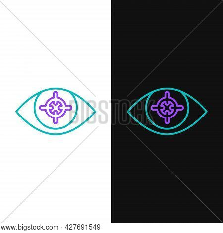 Line Eye Scan Icon Isolated On White And Black Background. Scanning Eye. Security Check Symbol. Cybe