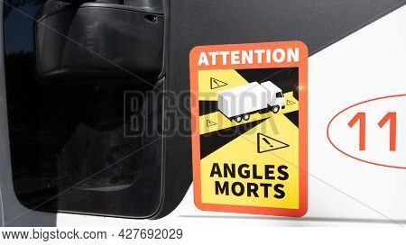 Bordeaux , Aquitaine France  - 06 20 2021 : Attention Angles Morts Trucks French Stickers Blind Spot