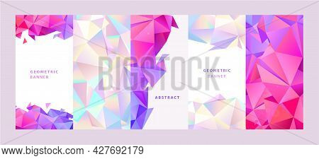 Vector Set Of Facet Geometric Covers And Poster Design Templates. Trendy Abstract Colorful Triangle
