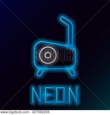 Glowing Neon Line Stationary Bicycle Icon Isolated On Black Background. Exercise Bike. Colorful Outl