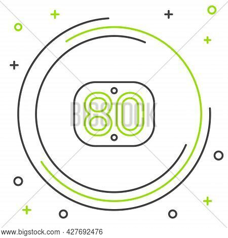 Line 80s Retro Icon Isolated On White Background. Eighties Poster. Colorful Outline Concept. Vector