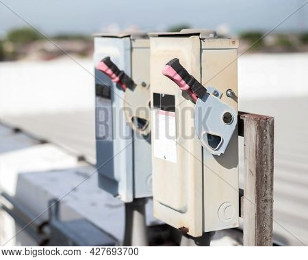 Electrical Safety Switch Box On Isolate Background.main Electrical Switching Control.