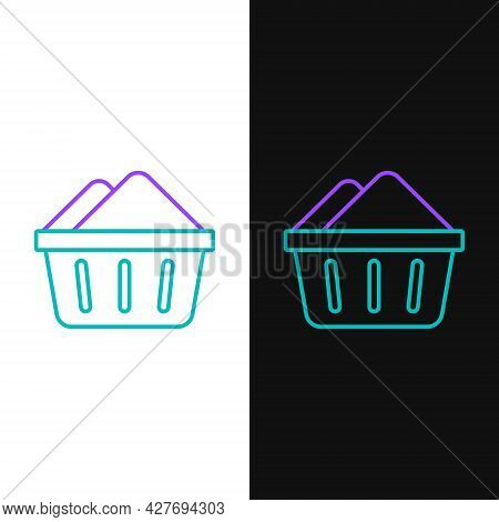 Line Plastic Basin With Soap Suds Icon Isolated On White And Black Background. Bowl With Water. Wash