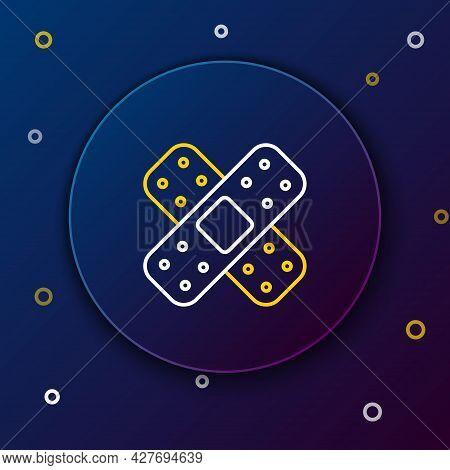 Line Crossed Bandage Plaster Icon Isolated On Blue Background. Medical Plaster, Adhesive Bandage, Fl