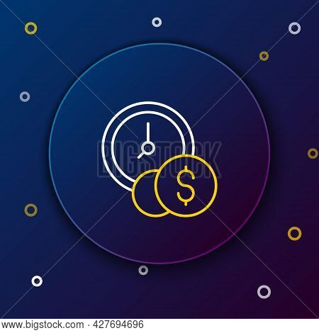 Line Time Is Money Icon Isolated On Blue Background. Money Is Time. Effective Time Management. Conve