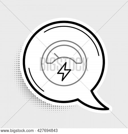 Line Ampere Meter, Multimeter, Voltmeter Icon Isolated On Grey Background. Instruments For Measureme