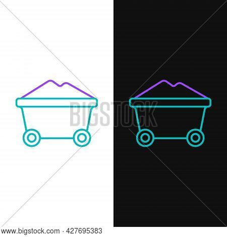 Line Coal Mine Trolley Icon Isolated On White And Black Background. Factory Coal Mine Trolley. Color