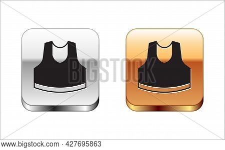Black Undershirt Icon Isolated On White Background. Silver And Gold Square Buttons. Vector