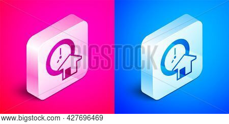 Isometric Time Is Money Icon Isolated On Pink And Blue Background. Money Is Time. Effective Time Man