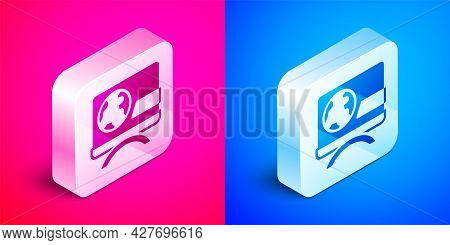 Isometric Breaking News Icon Isolated On Pink And Blue Background. News On Television. News Anchor B