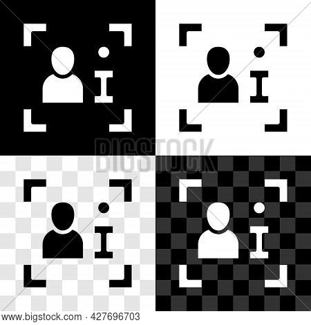 Set Television Report Icon Isolated On Black And White, Transparent Background. Tv News. Vector