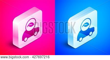 Isometric Eco Car Concept Drive With Leaf Icon Isolated On Pink And Blue Background. Green Energy Ca