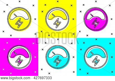 Set Ampere Meter, Multimeter, Voltmeter Icon Isolated On Color Background. Instruments For Measureme