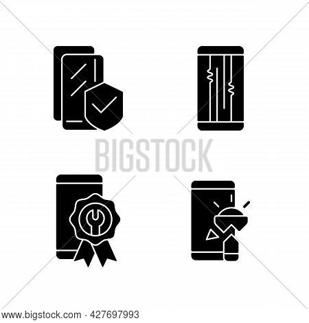 Common Phone Breakdowns Black Glyph Icons Set On White Space. Certified Repair. Screen Protector. Di