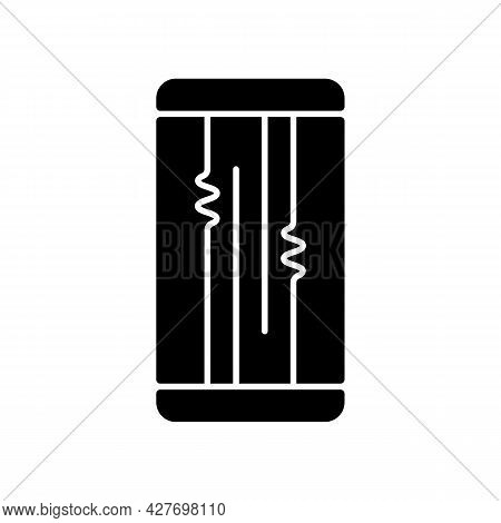 Display Or Lcd Issues Black Glyph Icon. Cracked Screen Problem. Touchscreen Is Flickering Or Glitchi