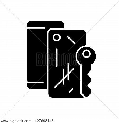 Scratched Housing Black Glyph Icon. Damaged Mobile Phone Case And Housing. Defective Device. Removin