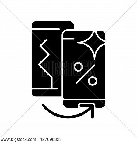 Old Phone Replacement Black Glyph Icon. Old Malfunction Device Return. Mobile Phone Exchange. Damage