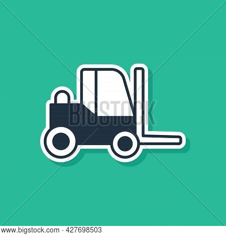 Blue Forklift Truck Icon Isolated On Green Background. Fork Loader And Cardboard Box. Cargo Delivery