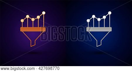 Gold And Silver Sales Funnel With Chart For Marketing And Startup Business Icon Isolated On Black Ba