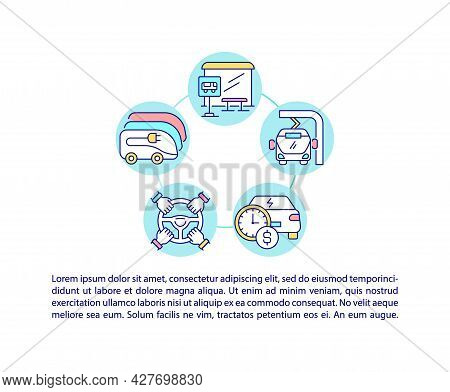 Public Ev Options Concept Line Icons With Text. Eco-friendly Charging Networks. Ppt Page Vector Temp