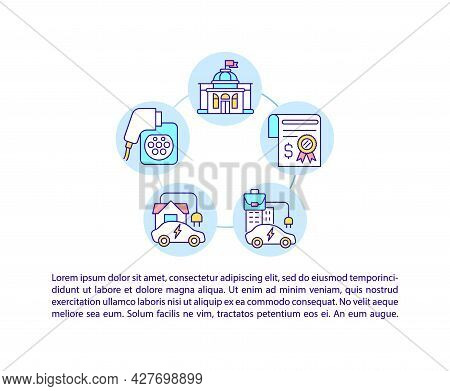 Ev Home Charging Points Concept Line Icons With Text. Government Grant. Ppt Page Vector Template Wit