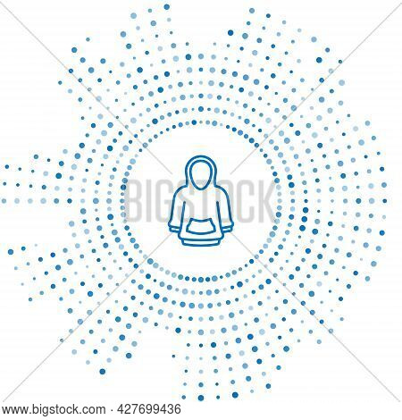 Blue Line Hoodie Icon Isolated On White Background. Hooded Sweatshirt. Abstract Circle Random Dots.